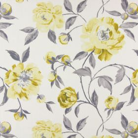 Tea Garden - Jonquil - Pale yellow and gold shaded flowers and buds with light grey leaves on an off-white cotton fabric background