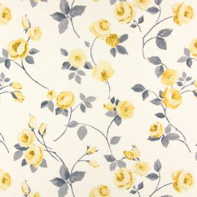 Rose Garden - Jonquil - Very pale grey coloured cotton fabric, scattered with tiny yellow roses and grey leaves and stems