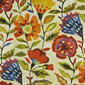 Fandango - Tropical - Bright red, orange, green, yellow and bluestylised florals printed on fabric made from linen and cotton in ivory
