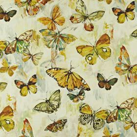 Butterfly Cloud - Pineapple - Linen and cotton blend fabric featuring a beautiful butterfly pattern in warm shades of gold, green, brown and