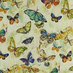 Butterfly Cloud - Rainforest - Fabric made from butterfly patterned linen and cotton in colours such as cream, blue, orange, apple green and