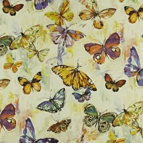 Butterfly Cloud - Passion fruit - Golden honey, deep purple and orange coloured butterflies printed on fabric blended from a mix of linen an