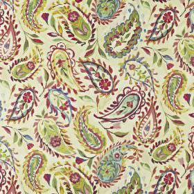 Calypso - Hibiscus - Fabric made from linen and cotton, with floral paisley style patterns printed in light shades of green, blue and cherry