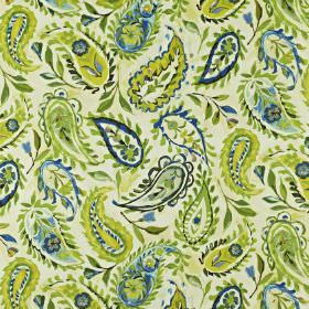 Calypso - Mojito - Various shades of green and blue making up linen and cotton blend fabric with a pretty floral paisley style pattern