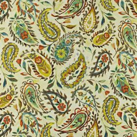 Calypso - Pineapple - Linen and cotton blend fabric printed with floral paisley style patterns in mustard yellow, terracotta and jade colour
