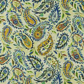 Calypso - Rainforest - Mustard yellow, light green and bright blue floral paisley style patterns printed on fabric made from linen and cotto
