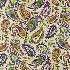 Calypso - Passion fruit - Pretty floral paisley style patterns printed in deep purple, green and honey colours on linen and cotton blend fab