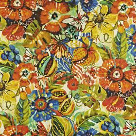 Tropical Garden - Tropical - Bright orange, citrus and Royal blue coloured florals covering linen and cotton blend fabric in a large pattern
