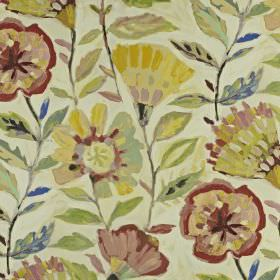 Fandango - Hibiscus - Ivory linen and cotton blend fabric printed with stylised florals inyellow, raspberry, dusky pink and pale green shad