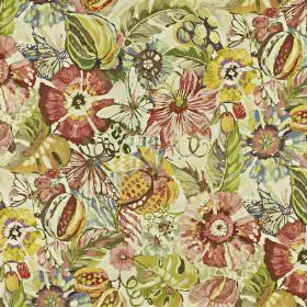 Tropical Garden - Hibiscus - A large floral pattern covering linen and cotton blend fabric in pastel shades of yellow, cream, green and pink