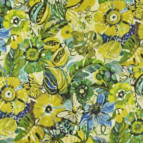 Tropical Garden - Mojito - Fabric made from linen and cotton, covered with a large floral pattern in citrus, bright green and sky blue shade