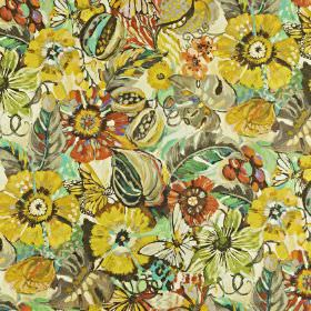 Tropical Garden - Pineapple - Dark shades of yellow, grey, orange and green making up a large floral pattern on fabric made from linen and c