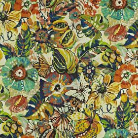 Tropical Garden - Rainforest - Multicoloured floral patterned linen and cotton, printed in dark colours such as navy, orange, yellow and tur