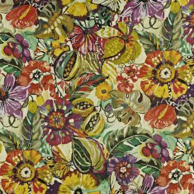 Tropical Garden - Passion fruit - Linen and cotton blend fabric made in rich purple, mustard yellow, light red and dark green, with a large