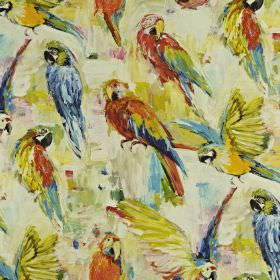 Macaw - Tropical - Multicoloured red, yellow, blue and green parrots printed on linen and cotton blend fabric, with a smudged background