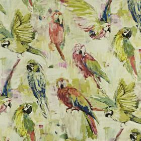 Macaw - Hibiscus - A smudged linen and cotton fabric background behind a parrot print made in light shades of red, green and marine blue