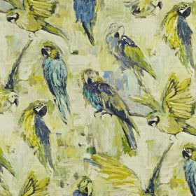 Macaw - Mojito - Fabric made from linen and cotton in cream, with a smudged background and a parrot print in shades of blue and green