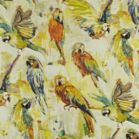 Macaw - Rainforest - Off-white linen and cotton blend fabric, printed with parrots in warm shades of orange, cream, apple green and navy