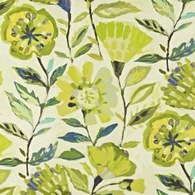 Fandango - Mojito - Lime green, bright yellow and navy blue coloured linen and cotton blend fabric printed with large, stylised florals