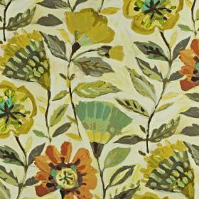 Fandango - Pineapple - Fabric blended from linen and cotton, printed with stylised florals in dark shades of orange, gold, green and grey