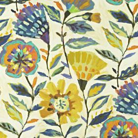 Fandango - Rainforest - Stylised florals printed on linen and cotton blend fabric in bright shades of Royal blue, golden yellow and orange