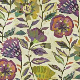 Fandango - Passion fruit - Linen and cotton blend fabric printed withdark purple, terracotta, forest green and olive green stylised florals