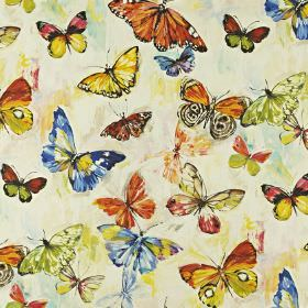 Butterfly Cloud - Tropical - Multicoloured butterfly print fabric made from linen and cotton, with a design in shades of orange, yellow, blu