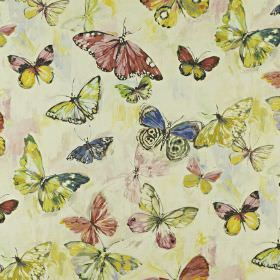 Butterfly Cloud - Hibiscus - Dark red, bright yellow, Royal blue and green-yellow butterfly print patterned fabric blended from linen and co