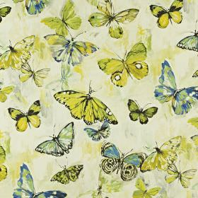 Butterfly Cloud - Mojito - Fabric made from linen and cotton with a butterfly pattern printed in off-white, light blue and bright citrus gre