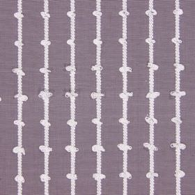 Loops - Mulberry - Purple and white cotton fabric featuring a pattern of knotted vertical stripes