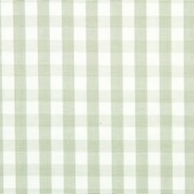 Check - Leaf - Very pale green lines running both horizontally and vertically over fabric made from white cotton