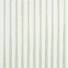 Cable - Leaf - Cotton fabric with a striped design in white and a very pale shade of green