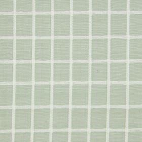 Chain - Leaf - White and pale duck egg blue coloured cotton fabric, featuring a very simple grid pattern