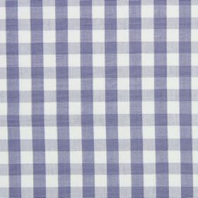 Check - Larkspur - Light blue-purple and pale grey checks printed on a white cotton fabric background