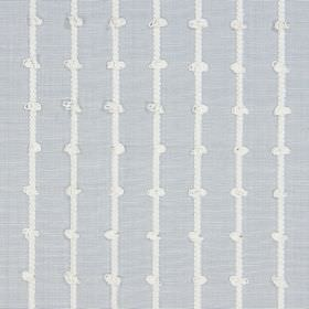 Loops - Mist - Lines which have knots in them, printed in white on pale blue-grey coloured fabric made from cotton