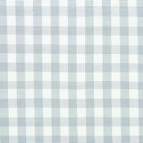 Check - Mist - Very subtle, pale blue checks printed on a background of white cotton fabric