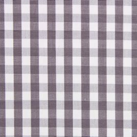 Check - Mulberry - Cotton fabric in white, printed with pale grey horizontal lines and purple vertical lines
