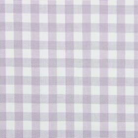 Check - Lavender - White cotton fabric with a subtle checked pattern in pale purple