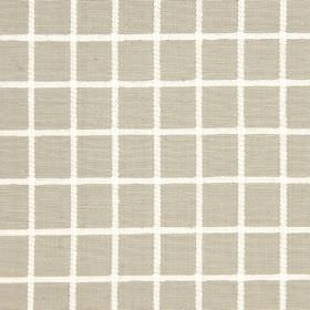 Chain - Linen - Simple white lines running horizontally and vertically over light grey cotton fabric