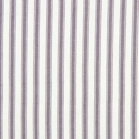 Cable - Mulberry - Purple stripes running vertically down white cotton fabric