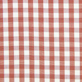 Check - Russet - Fabric made from dusky red and white checked cotton