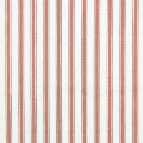Cable - Russet - A background of white cotton fabric for dusky pink coloured vertical stripes