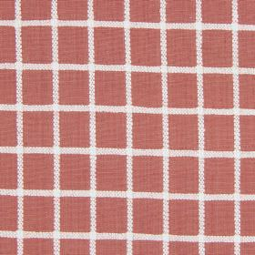 Chain - Russet - A simple grid in white over a dusky red coloured background made from cotton fabric