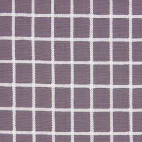 Chain - Mulberry - Dusky purple coloured cotton fabric printed with horizontal and vertical white lines
