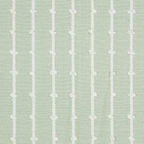 Loops - Leaf - Knotted white stripes printed on a very pale green cotton fabric background