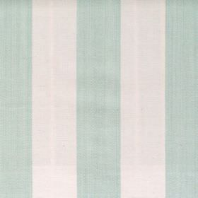 Maritime - Aqua - Aqua blue and white wide striped fabric