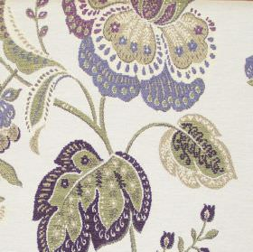 Dante - Lavender - Lavender purple renaissance flowers on white fabric