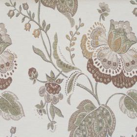 Dante - Sandstone - Sandstone brown Renaissance flowers on white fabric