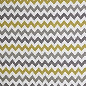 Graphix - Citron - Iron grey, battleship grey and olive green coloured zigzags printed on a white cotton and polyester blend fabric background