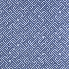 Key - Porcelain - White polyester and cotton blend fabric behind a Royal blue design of small, simple, repeated geometric shapes